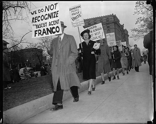 Protesting outside the Italian embassy, 1939.