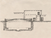 Section drawing of a pueblo.