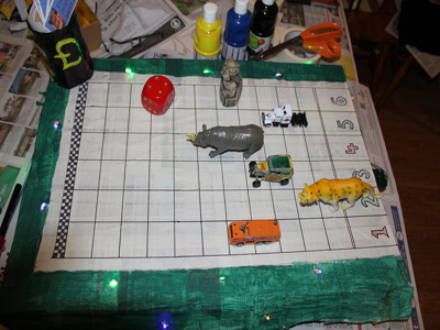 Race game board in use