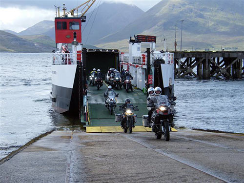 Bikers leaving a ferry