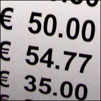 Part of a receipt showing transactions in Euro currency.