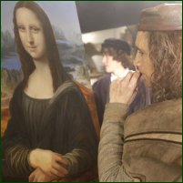 Leonardo da Vinci hard at work on his most famous painting, from the 2003 BBC One programme Leonardo: The Secret Life of the Mona Lisa.
