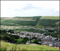 The green, green grass of the Rhondda Valley, Wales.