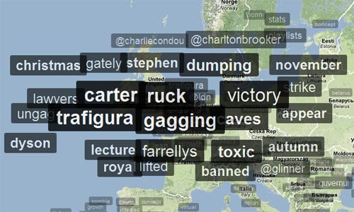 Graphic representation of tweets overlaid on a map of the UK, with #carter, #ruck, #trafigura, #gagging and #victory the most prominent by far.