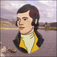 A picture of Robert Burns with a scene from the north west Highlands of Scotland in the background.
