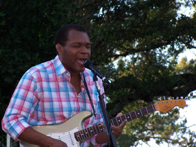 Blues singer Robert Cray with electric guitar