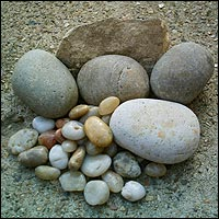 Assorted sizes of rock, stone and - yes! - pebbles.