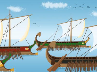 A Roman fleet of ships.
