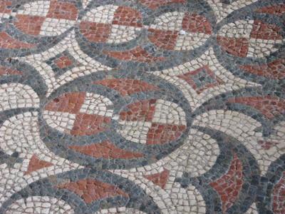 Roman floor mosaic, Chedworth Villa, England.