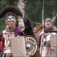 Drama reconstruction of a Roman legion on the march in Britain.