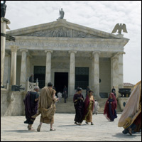 A production shot showing the Forum set used in 'Ancient Rome: The Rise And Fall Of An Empire: Constantine'.