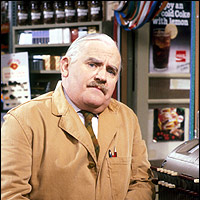 Robbie Barker in one of his most famous roles, shopkeeper Arkwright in 'Open All Hours'.