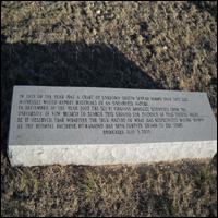 A memorial stone in New Mexico marking the spot of the alleged crash site, known as the 'Roswell Incident'.