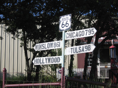 Route 66 roadside signpost.