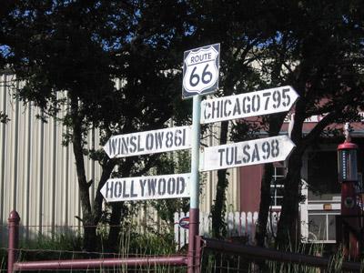 Route 66 roadside signpost.