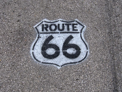 Route 66 road marker.