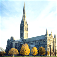 Salisbury Cathedral on a crisp, bright day.