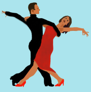 A man in black and a woman in red salsa dancing.
