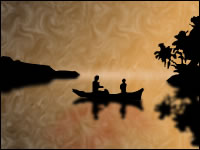 People in a small boat at sunset.
