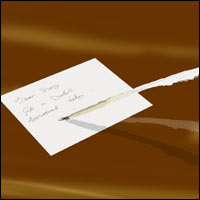 A quill resting on a parchment of paper.