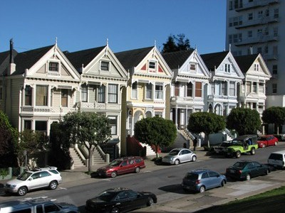 Pretty wooden houses in San Francisco, California.
