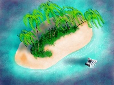 A sandy atoll