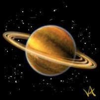 The ringed planet Saturn.