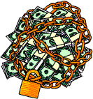 Illustration of a bundle of money which has been chained and padlocked