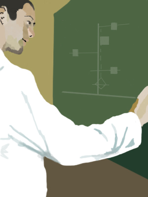 A scientist drawing a diagram on a blackboard.