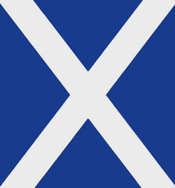The St Andrew's Cross, adopted as the flag of Scotland from the 16th Century, on its side