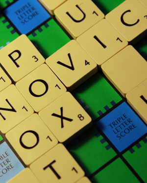 Letters on a Scrabble board
