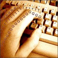 A hand types on a keyboard as the letters shoot along each finger. It's a bit symbolic though - this doesn't happen in real life as far as we know.