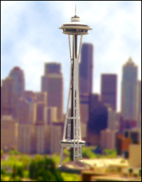A view over the Seattle skyline, including the famous 'Space Needle'.