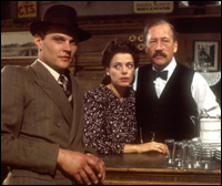 Christopher Neame as British officer Curtis, with Angela Richards as Monique and Bernard Hepton as Albert, two of the key operatives of 'Lifeline'.