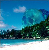 A tropical island, overlooked by a gigantic skull carved into the side of a mountain.