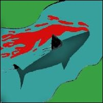 A shark surrounded by blood.