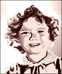 Child movie star Shirley Temple, smiling and with a face surrounded by curls of golden hair