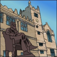 Shrewsbury Library and a statue of Charles Darwin. By Community Artist King Bomba.