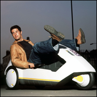 Craig Doyle in a Sinclair C5 car.