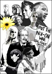 Faces of the 1960s - The graphic shows (from the top, left to right) actor Peter Fonda from the film Easy Rider, American President John F Kennedy, Martin Luther King Jr, captain of England's 1966 World Cup football squad Bobby Moore, fashion model Twiggy, actress Julie Christie, British Prime Minister Harold Macmillan, Beatle George Harrison and Rock god Jimi Hendrix.