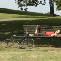 This cyclist certainly has the right attitude; lying asleep next to his bike on a park bench, he won't be winning the Tour de France any time soon.