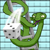 A snake throwing a die while wrapped arond a ladder