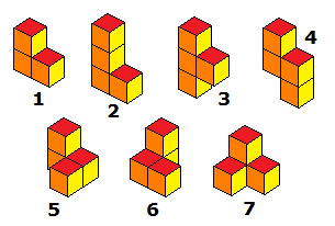 The seven pieces of the Soma cube.