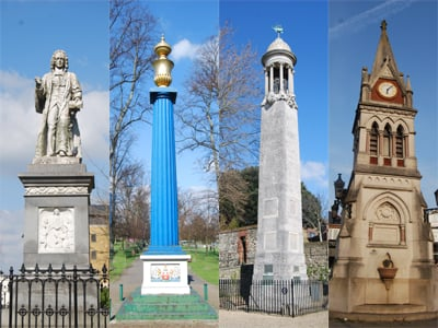 A photograph of four memorials from Southampton.