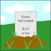 A gravestone to South Park's immortal anorak-wearer