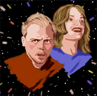 Simon Pegg and Jessica Stevenson, the stars of the television programme 'Spaced'.