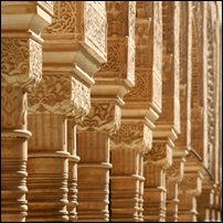 Intricate adobe sculpting at the Alhambra in Granada, the last Moorish outpost in Spain.