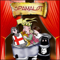 A medieval soldier, a king and an executioner performing on stage - a production of 'Spamalot'.