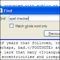 Internet Explorer's 'Find' function being used to search for the phrase 'spell checker'.