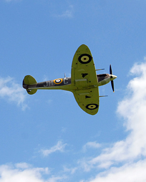 A Spitfire on a demonstration flight over RAF Halton, Buckinghamshire